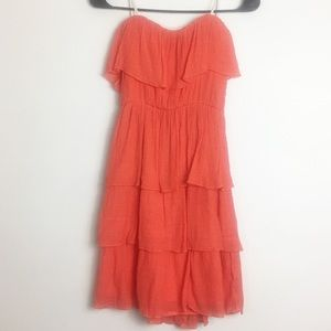 BY & BY STRAPLESS RUFFLE DRESS ORANGE SIZE SMALL